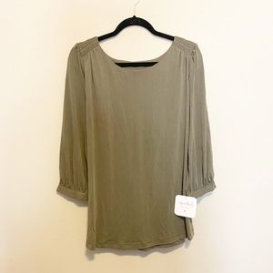NWT Isabel Maternity Olive Green Tie Back Top